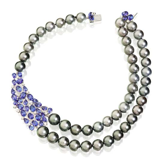 Necklace in 18k gold with Tahitian pearls, tanzanite, and diamonds for $37,000 from Utopia