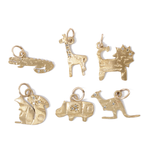 Page Sargisson's Safari Mini animal charm jewelry in 10k gold and sterling silver