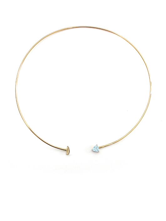 Marta collar necklace in 14k gold with half circle motif, aquamarine, and diamonds by Paige Novick