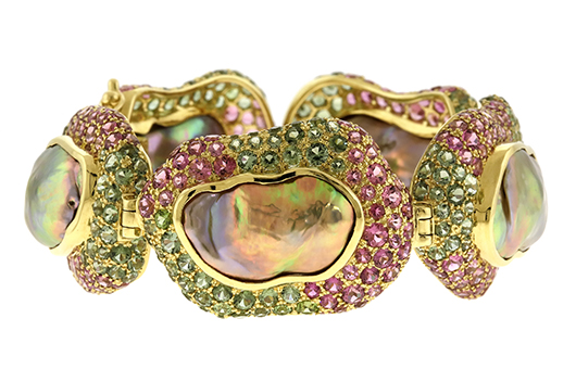 Venus bracelet with freshwater pearls and pink and green tourmalines by Crevoshay took Best Use of Color