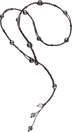 Vincent Peach Tahitian pearl and leather lariat