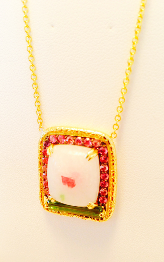 Necklace with spinel, tourmaline, and padparadscha sapphires by Susan Wheeler Design