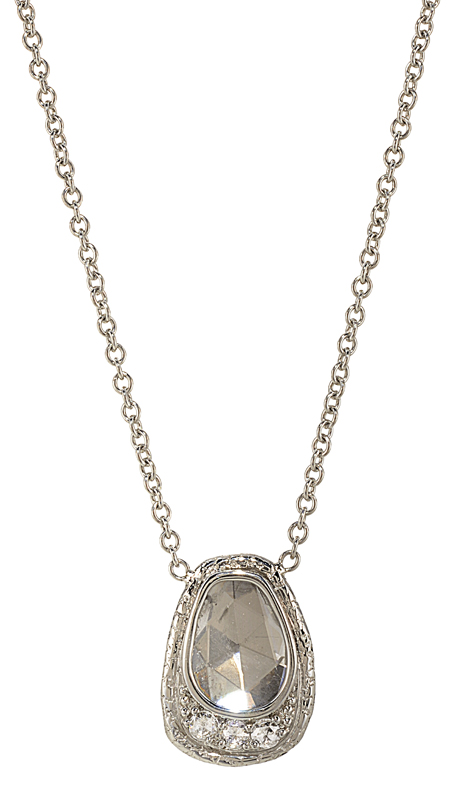 Pendant necklace in platinum with a diamond slice and rose-cut diamonds by Susan Wheeler