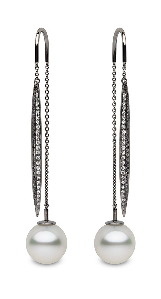 Yoko London Threader earrings in 18k gold with diamonds and white South Sea pearls