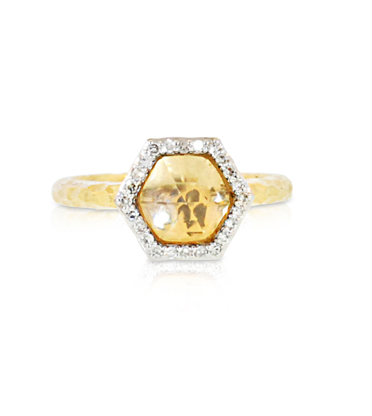 Phillips House ring in 18k gold with rock crystal quartz and diamonds