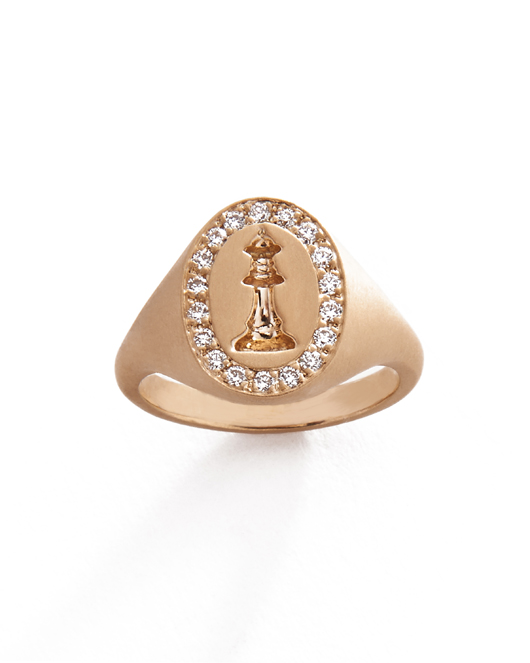 Michelle Fantaci Checkmate pinky ring in 14k gold