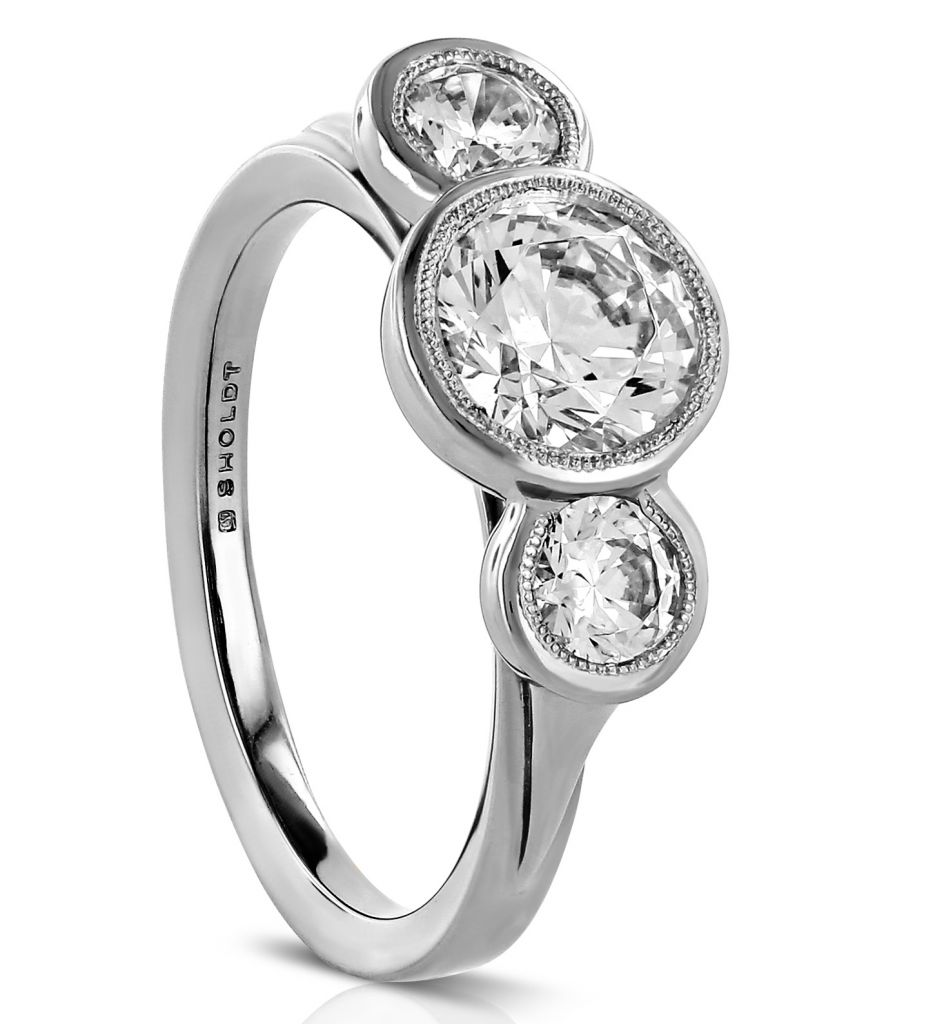 Sholdt three-stone bezel-set diamond ring