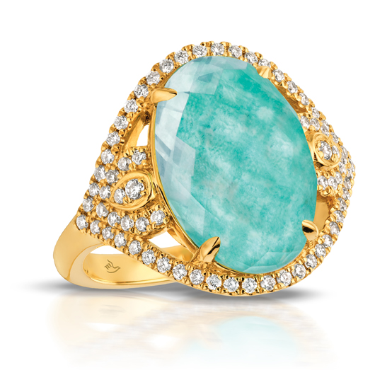 Amazonite ring in 18k gold with diamonds from Doves by Doron Paloma