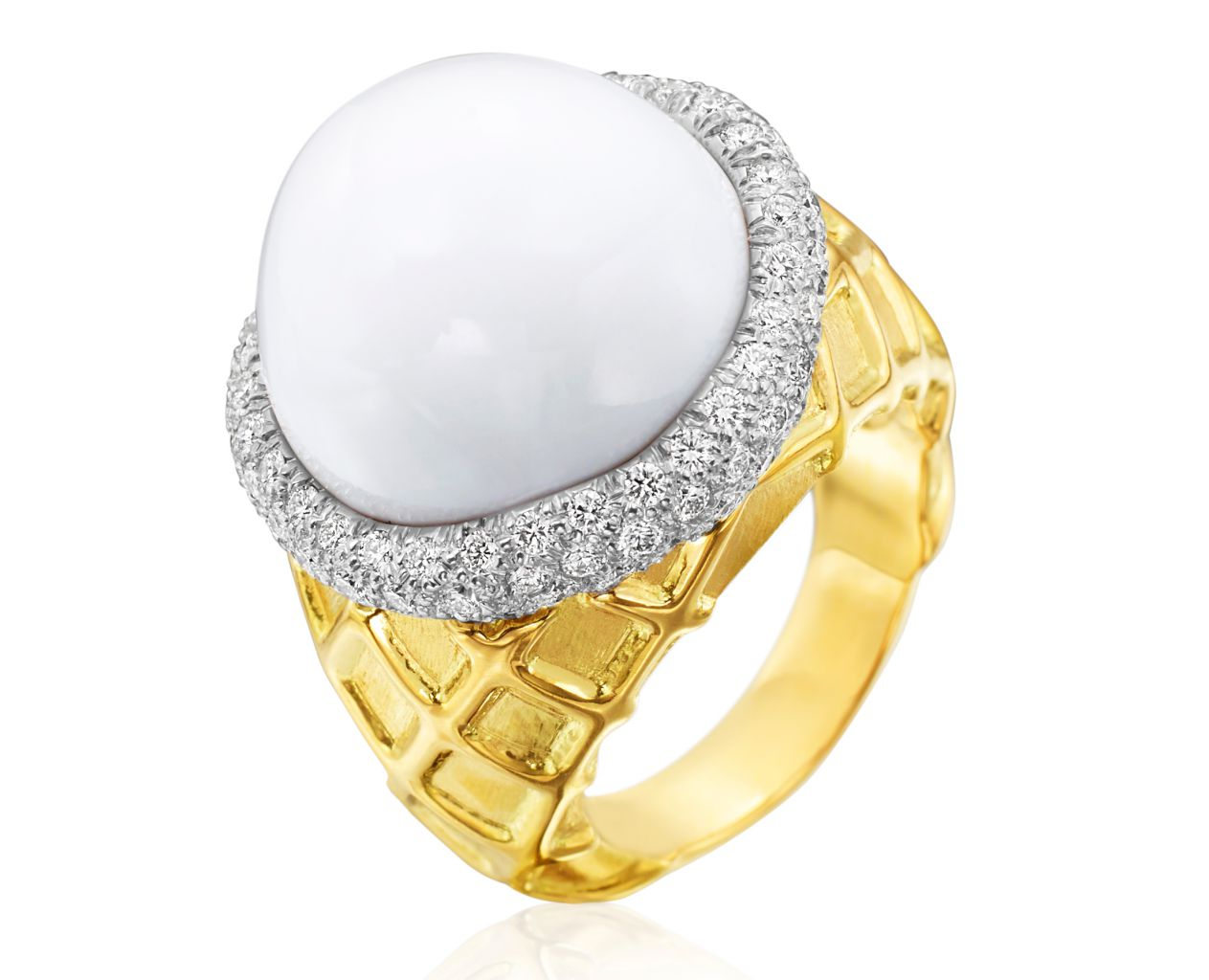 Gumuchian Vanilla Ice Cream ring with cacholong and diamonds