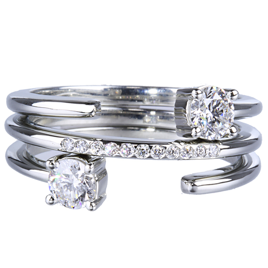 Diamond engagement rings and band from Mark Patterson are made wtih Millennial couples in mind