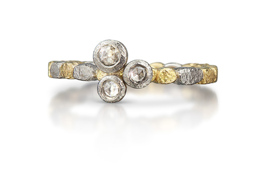 Band in 18k gold and palladium with diamonds from Rona Fisher's Dancing Diamonds Pebbles collection