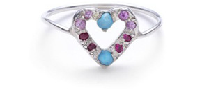 Elisa Solomon Heart ring in silver with turquoise and pink sapphires