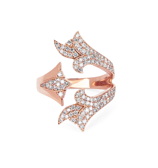Sara Weinstock French Tulip Open ring in gold and diamonds