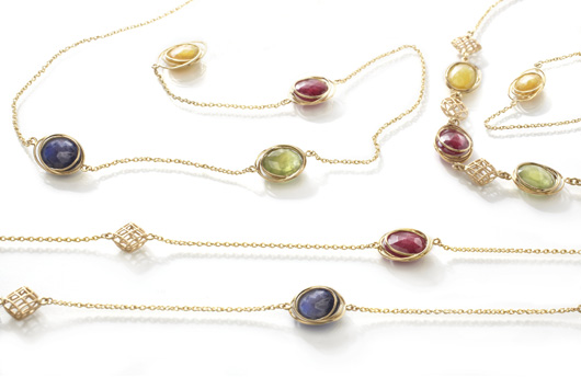 Bizzotto Rainbow necklaces in 18k gold with ruby and sapphires