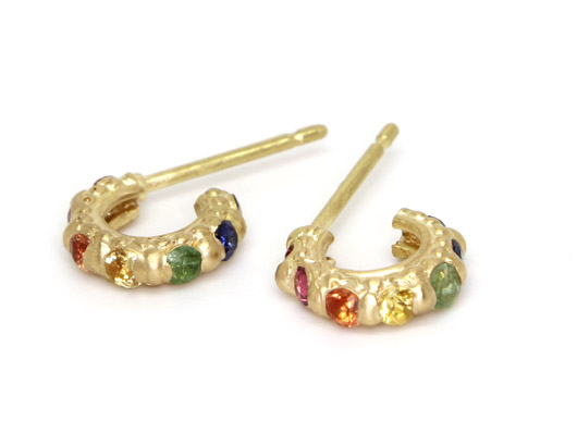 Rapunzel hoop earrings in gold with sapphires from Polly Wales