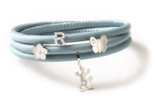 Rebecca leather wrap bracelet with charms