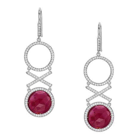 Red C ruby and diamond XO earrings in 14k gold