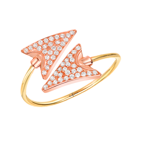Red C Jewels Arrow ring in 14k pink gold with diamonds