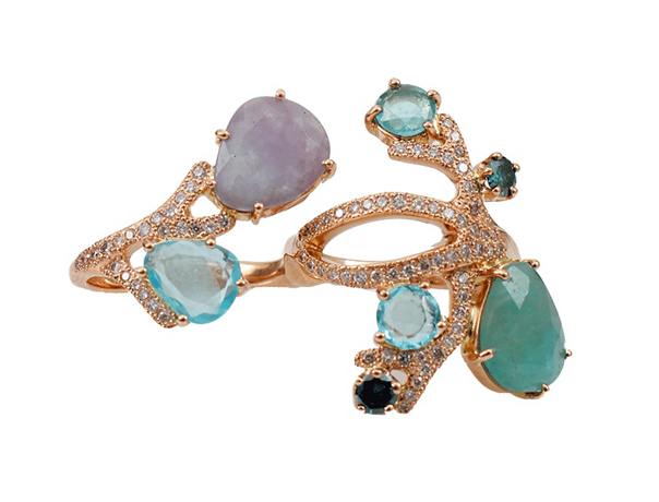 Two Finger ring in gold with Paraiba tourmaline and precious stones by Federicka Rettore