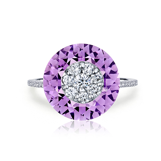 Ring in 18k white gold with amethyst and diamond inlay from Bhansali