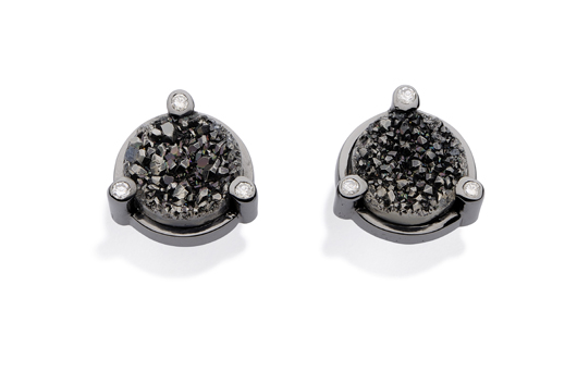 Stud earrings in 18k gold with black rhodium, drusy, and diamonds by Yael Sonia in her new men's jewelry collection