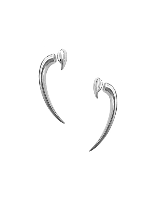 Silver-plated brass two-part magnetic earrings by Paige Novick