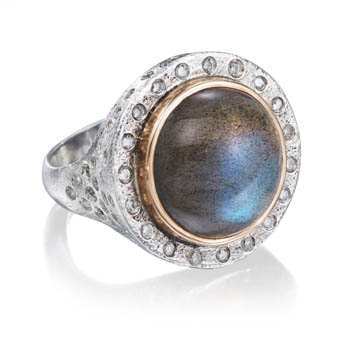Ring with labradorite by Rona Fisher