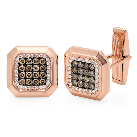 Cufflinks in 14k rose gold with 1.08 cts. t.w. colorless and champagne-color diamonds, $2,100; Shy Creation