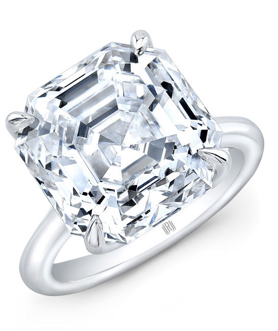 Ring in platinum with a 10.13 ct. F-color, VVS1-clarity Asscher-cut diamond, price on request, from Rahaminov Diamonds