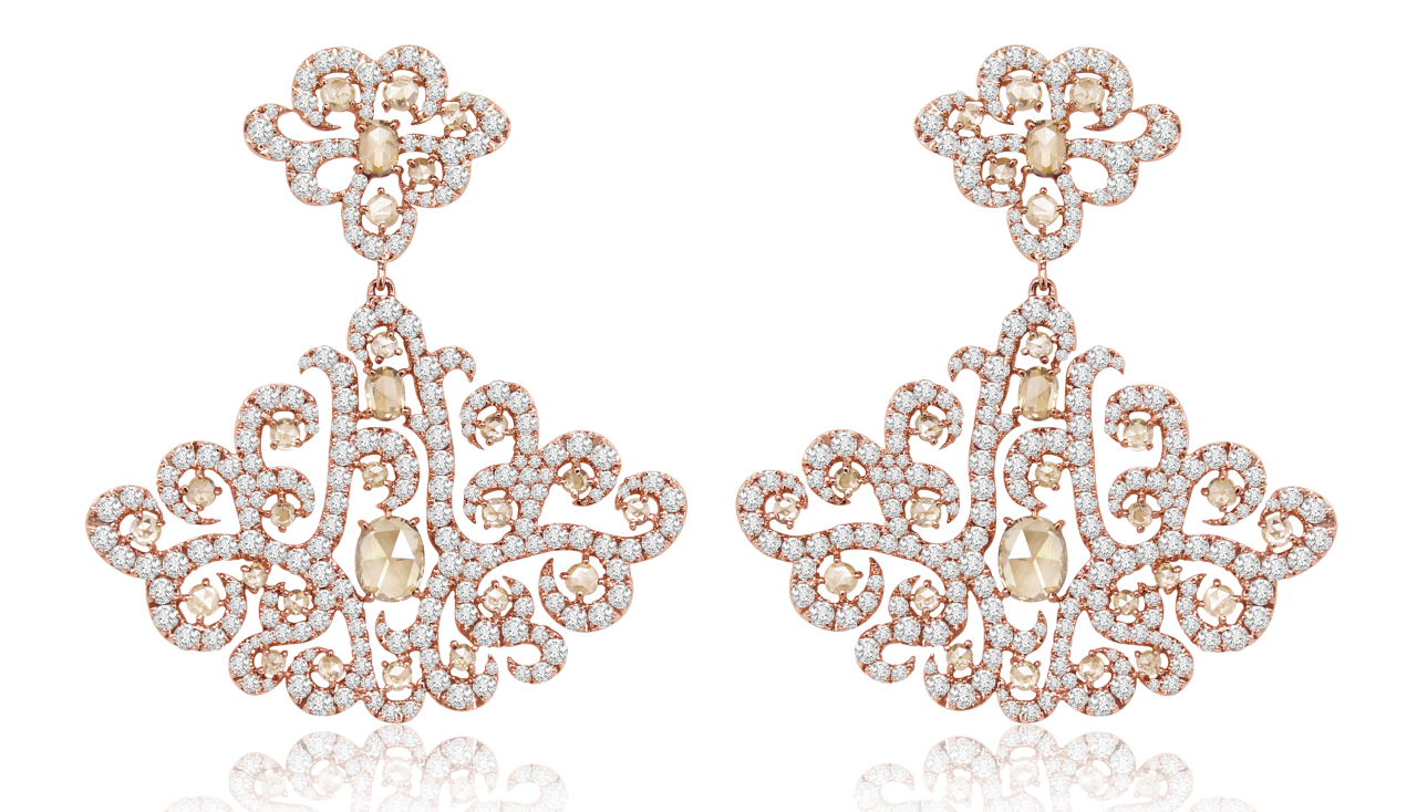 Sutra filigree lace diamond earrings