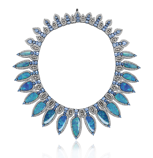 Sutra bib necklace with Lightening Ridge Australian opal doublets, sapphires, and diamonds in 18k blackened gold