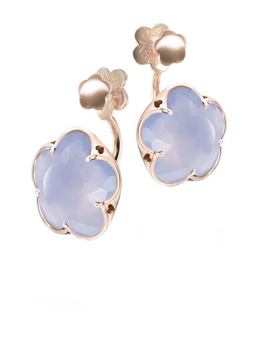 Studs with jackets in 18k gold with chalcedony by Pasquale Bruni