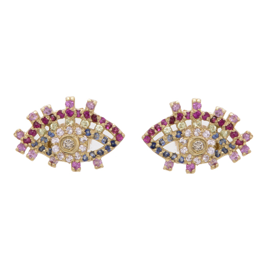 Picasso Eye earrings in gold with gemstones from Carole Le Bris Perez