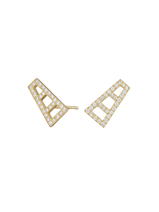 Petite ear climbers in 18k yellow gold with diamonds from Doryn Wallach