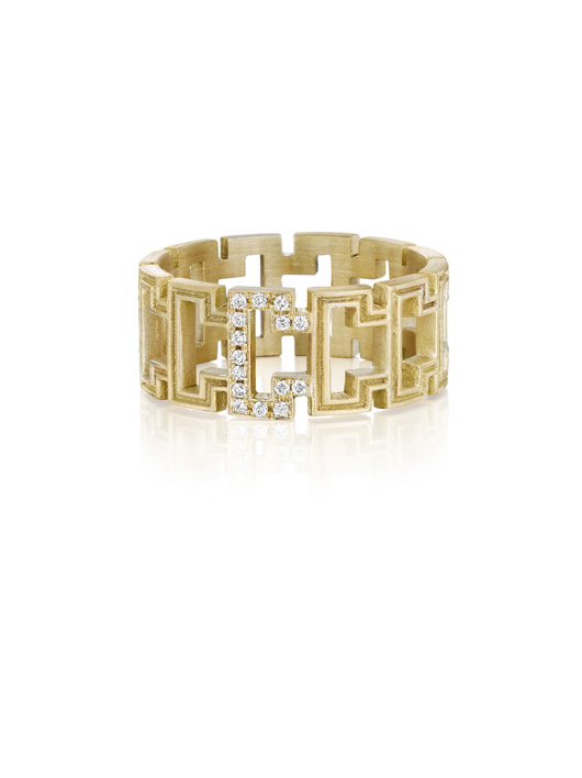 Small ring in 18k yellow gold with diamonds by Doryn Wallach