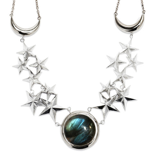 Moon Age Dream necklace in silver-plated brass with labradorite for $950 by Pamela Love