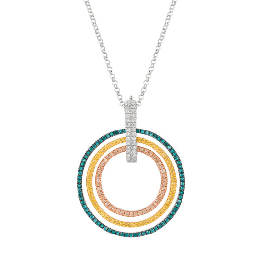 Svelte pendant necklace in silver with color-enhanced diamonds