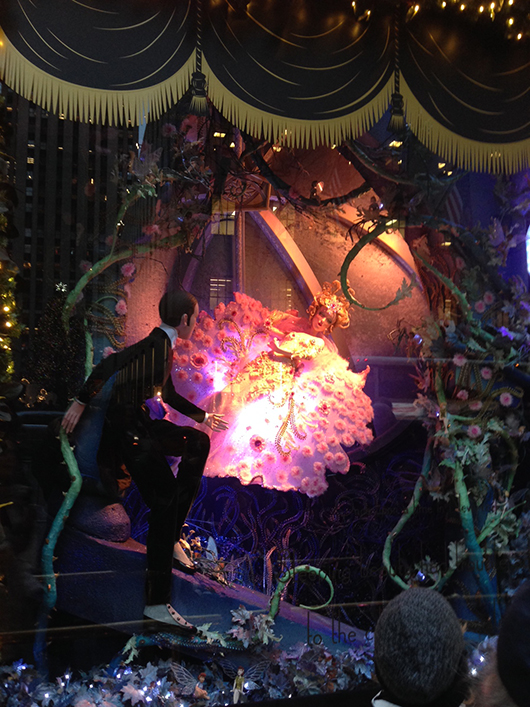 Rapunzel in a window scene at Saks Fifth Ave. in Manhattan