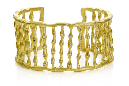 Sandy Leong cuff in 18k gold with Rio Tinto Argyle-mine diamonds for Diamonds With A Story