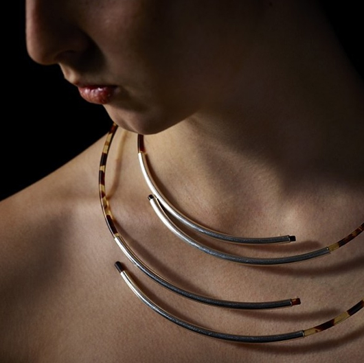 silver and faux tortoise shell necklace from Linda van Niekerk of Australia