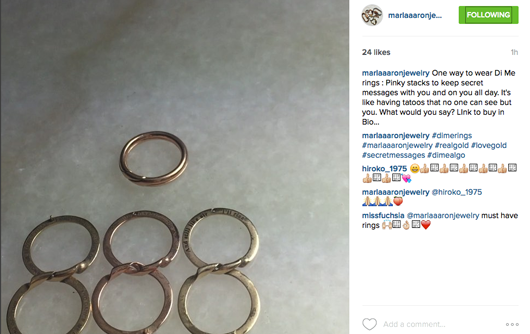 Video closeup of Marla Aaron's Di Me rings