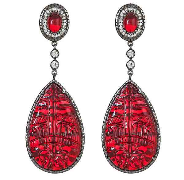 SNS Jewelry Studio carved ruby crystal drop earrings