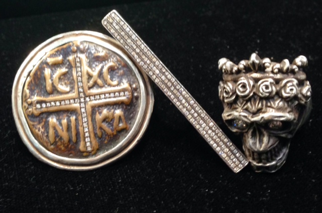 Pieces in sterling silver, bronze, and diamonds from Shannon J. Koszyk