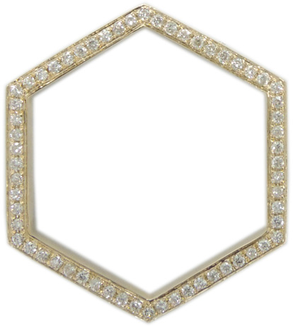 Shay Accessories Hexagon ring in 14k gold with diamonds