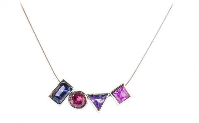 Shelly Purdy Love necklace in 14k gold with gemstones