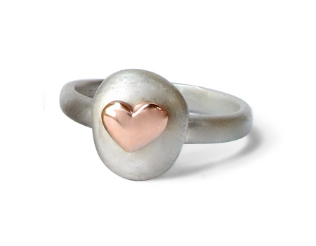 Shelly Purdy heart ring in silver with 14k gold