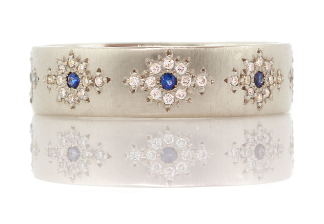 Shimmer band with diamond and sapphire by Adel Chefridi, Woodstock N.Y.