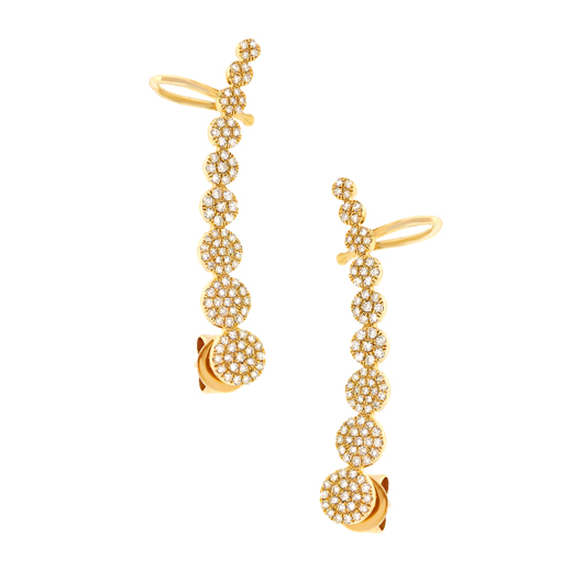 Ear climber in 14k gold with diamonds by Shy Creation