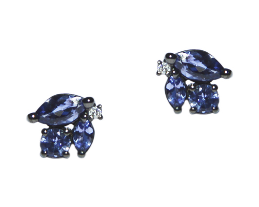 JJ Number 8 Icicle earrings in silver with tanzanite and diamonds