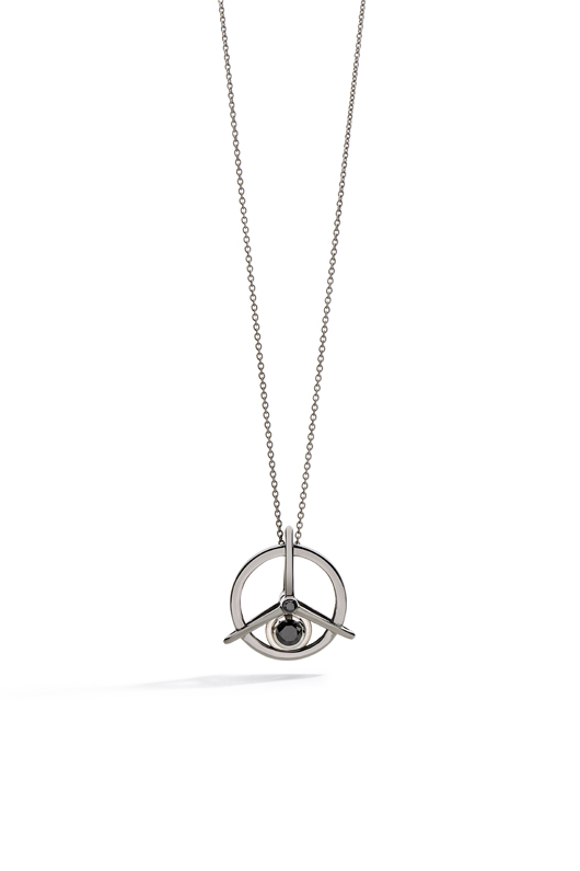 Spinning Top Diamond pendant necklace in 18k gold with black rhdoium and black diamonds by Yael Sonia in her new men's jewelry collection
